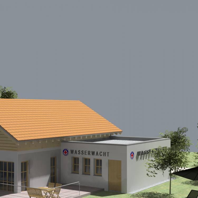 Errichtung eines Anbaus an eine best. Wasserwachtsstation und Umbauarbeiten an dem best. Gebäude